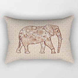 Fractal Swirl Elephant, Brown and Taupe Rectangular Pillow