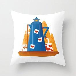 Tea Lighthouse Throw Pillow