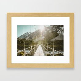 Suspension Bridge Sunrise Framed Art Print