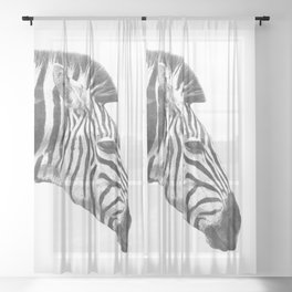 Black and White Zebra Profile Sheer Curtain