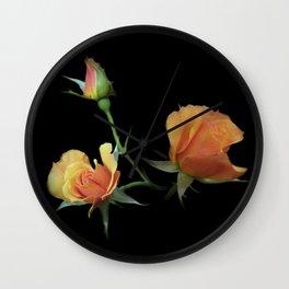 flowers on black - 3 orange rosebuds Wall Clock