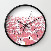 flamingos Wall Clocks featuring Flamingos by Lydia Coventry