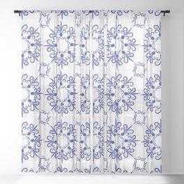 Floral ornament in dark blue Sheer Curtain