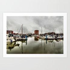Hull Marina in the Rain Art Print
