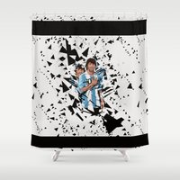 argentina Shower Curtains featuring Football Legends: Lionel Messi Argentina by Akyanyme