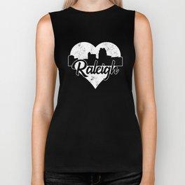 Retro Raleigh North Carolina Skyline Heart Distressed Biker Tank