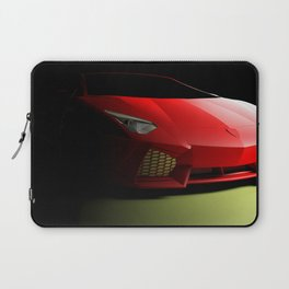 Red sport supercar isolated on black background - 3D rendering illustration Laptop Sleeve