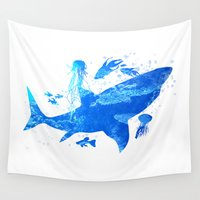 shark Wall Tapestries featuring Shark by Corina Rivera Designs
