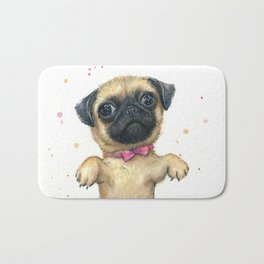 Cute Pug Puppy Dog Watercolor Painting Bath Mat