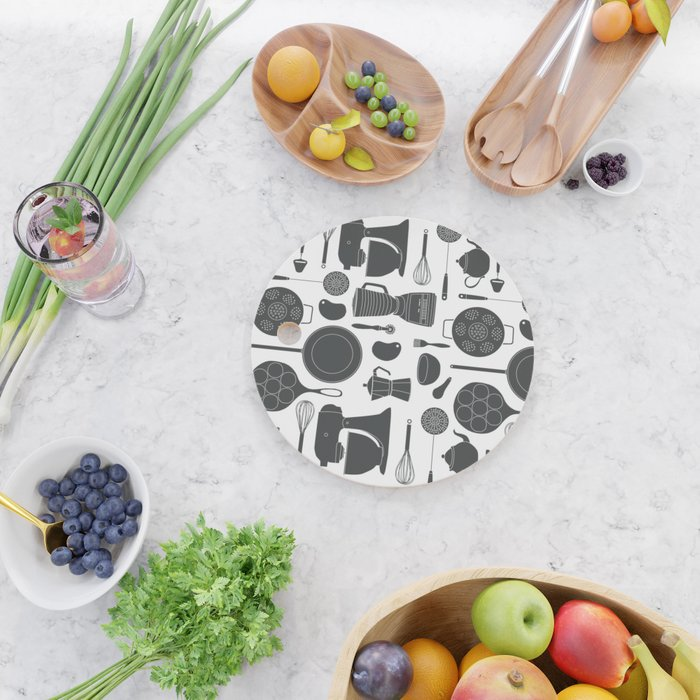 Kitchen Tools (black on white) Cutting Board
