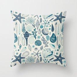 Sea shells on off white Throw Pillow