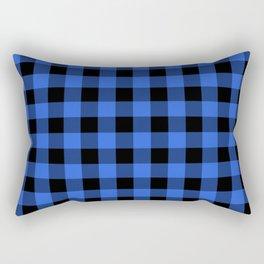 Royal Blue and Black Lumberjack Buffalo Plaid Fabric Rectangular Pillow
