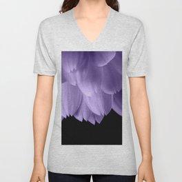 Ultra violet purple flower petals black Unisex V-Neck