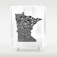 minnesota Shower Curtains featuring Typographic Minnesota by CAPow!