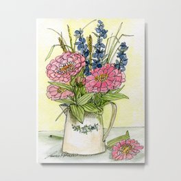 Pink Zinnias in Pitcher Watercolor Metal Print