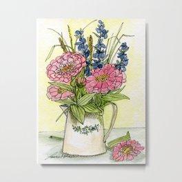 Pink Zinnias in Pitcher Watercolor Metal Print