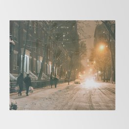 Winter - New York City - Snows Falls - Washington Square Throw Blanket