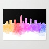cleveland Canvas Prints featuring Cleveland Skyline by Emily Brady