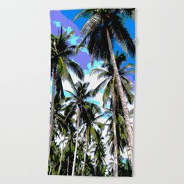 Palm Trees in a Posterised Design Beach Towel