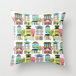 Boutiques and Downtown Buildings by Karen Fields Throw Pillow