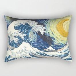 Starry Night Over The Great Wave Off Kanagawa Van Gogh/Hokusai Rectangular Pillow