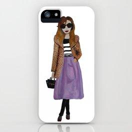 Fashion Illustration 'Lila' leopard coat outfit iPhone Case