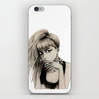 grimes iPhone & iPod Skins featuring Grimes by Justine Lecouffe