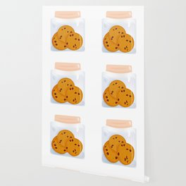 Chocolate chip cookie, homemade biscuit in glass jar Wallpaper