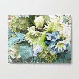green & blue artificial flowers Metal Print