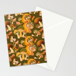 70s Mushroom, Retro Pattern Stationery Cards