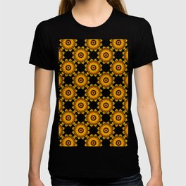 Sunflowers - Black and Gold Autumn Floral Mandala Fractals - Moroccan style T-shirt