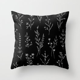 New Black Wildflowers Throw Pillow