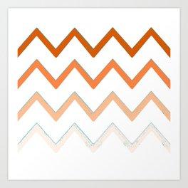 Orange Fading Waves Art Print
