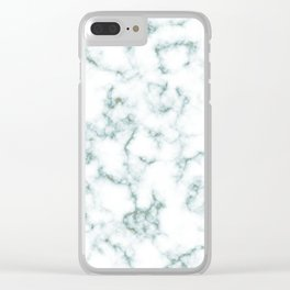 teal marble gold speck Clear iPhone Case