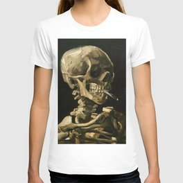 Skull Of A Skeleton With Burning Cigarette T-shirt