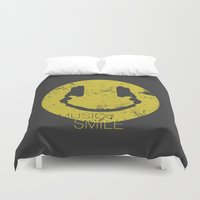 paramore Duvet Covers featuring Music Smile by Sitchko Igor