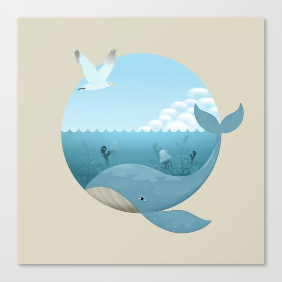 Whale & Seagull (US and THEM) Canvas Print