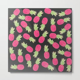 Summer Strawberry Tropical Pineapples Metal Print