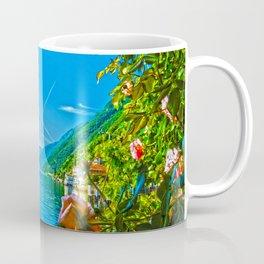 Flower-framed Lake Como Coffee Mug