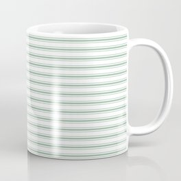 Mattress Ticking Narrow Horizontal Striped Pattern in Moss Green and White Coffee Mug