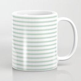 Mattress Ticking Narrow Horizontal Striped Pattern in Moss Green and White Coffee Mug