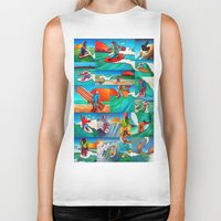 surfing Biker Tanks featuring Surfing by Ollie Longuet