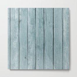 Chic Blue Rustic Wood Metal Print