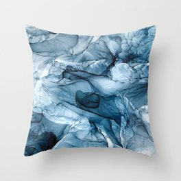 Churning Blue Ocean Waves Abstract Painting Throw Pillow