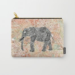 Tribal Paisley Elephant Colorful Henna Floral Pattern Carry-All Pouch