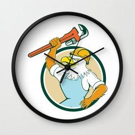 Bald Eagle Plumber Wrench Circle Cartoon  Wall Clock