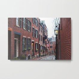 Acorn Street in Boston Metal Print