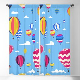 Colorful seamless pattern with air balloons and clouds in the blue sky Blackout Curtain