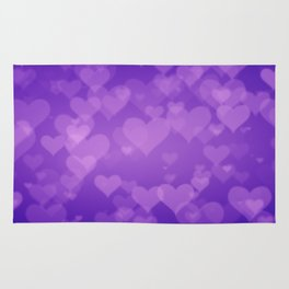 Soft Purple Hearts On Graduated Background. Valentines Day Concept Rug