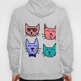 Doodle Drawing Cat Faces Hoody